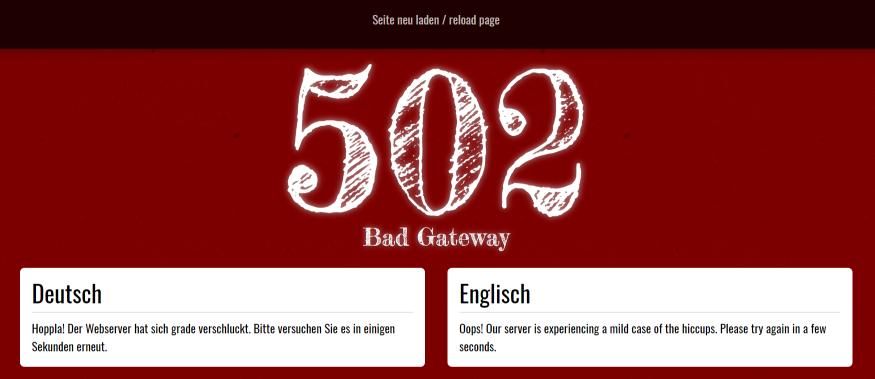 Fehler 502 Bad Gateway